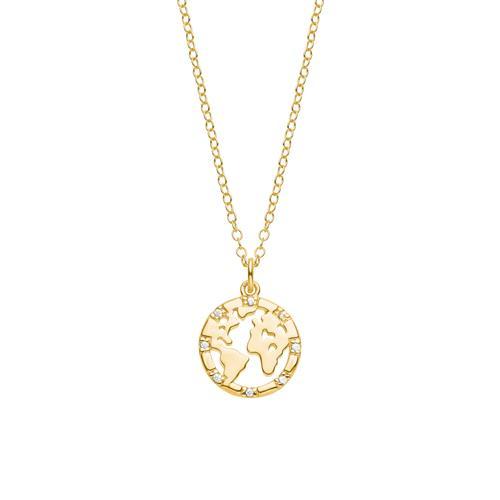 Kette Welt für Damen aus vergoldetem 925er Silber