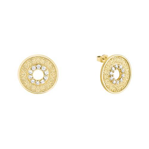 Damen Ohrstecker Coin aus Sterlingsilber, vergoldet