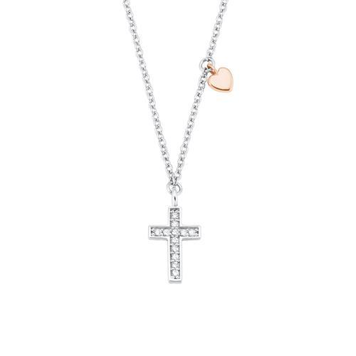 Mädchen Kette Kreuz und Herz aus 925er Silber