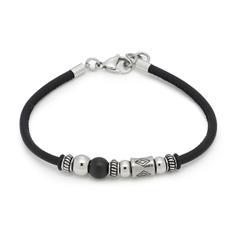 Herren Armband Matteo aus Leder und Edelstahl