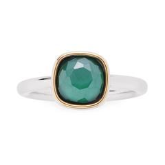 Edelstahl Ring Adriana für Damen mit Glasstein, grün