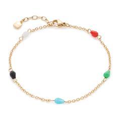 Vergoldetes Edelstahl Armband Nonna mit Glasperlen