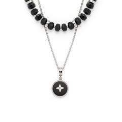Kette Donna aus Edelstahl mit Glaskristallen, schwarz