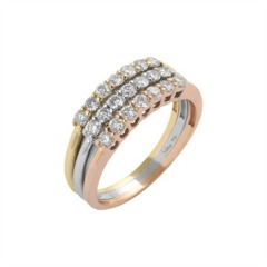 750er Goldring (18K): Ring Tricolor Diamant BIR4301