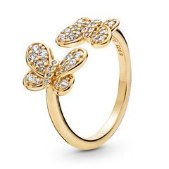 Ring Schmetterlinge 925er Silber, vergoldet Zirkonia