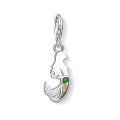 925er Silber Charm Meerjungfrau mit Perlmutt