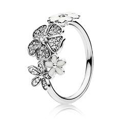 Blumen Ring mit Zirkonia und Emaille