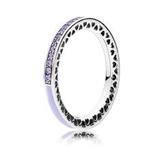925er Silber Ring mit Herzen lila