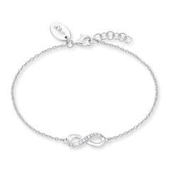 Infinity Armband für Damen aus 925er Silber, Zirkonia