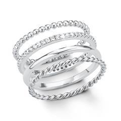 Ring Set für Damen aus 925er Silber mit Zirkonia