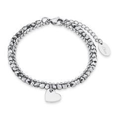 Edelstahl Armband Herz für Damen mit Glassteinen