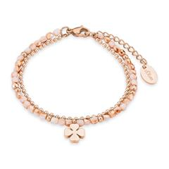 Armband Kleeblatt für Damen aus Edelstahl, rosé