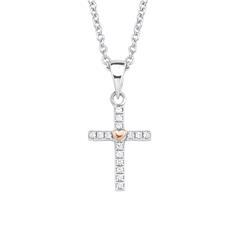 Kreuzkette für Mädchen aus 925er Silber mit Zirkonia