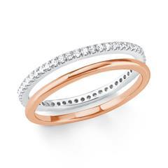 Ring Set für Damen aus Sterlingsilber, rosé