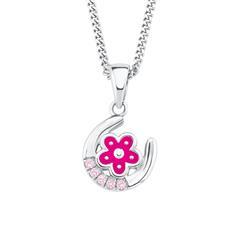 Kette Hufeisen und Blüte für Mädchen aus 925er Silber