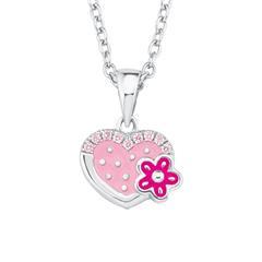 Herzkette mit Blume aus Sterlingsilber, gravierbar