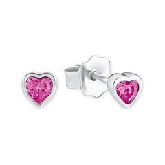 Herz Ohrstecker aus Sterlingsilber, pink