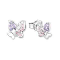 925er Silber Ohrstecker Schmetterlinge mit Zirkonia