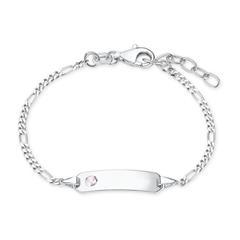 925er Silber Gravur Armband für Mädchen mit Zirkonia