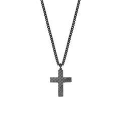 Herrenkette Kreuz aus Edelstahl, schwarz-beschichtet