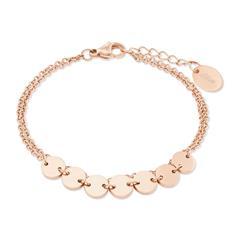 Damenarmband Kreise aus Edelstahl, rosévergoldet