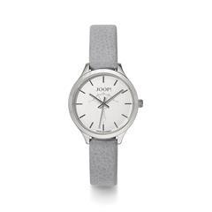 Quarzuhr für Damen mit grauem Lederband
