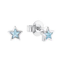 Ohrstecker Sterne aus 925er Silber mit Zirkonia, blau