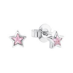Ohrstecker Sterne aus Sterlingsilber mit Zirkonia, rosa