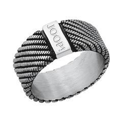 Ring für Herren aus Edelstahl, teilgeschwärzt