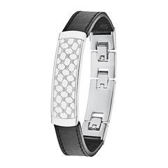 Armband für Herren aus Leder und Edelstahl, gravierbar
