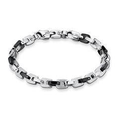 Herren Armband aus Edelstahl, teilgeschwärzt