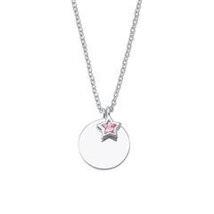Gravierbare 925er Silberkette für Mädchen mit Stern