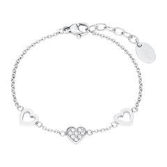 Herzarmband für Mädchen aus Edelstahl mit Glassteinen