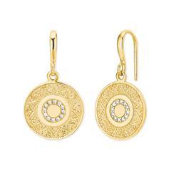 Ohrhänger Coin für Damen aus Sterlingsilber, gold