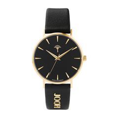 Uhr für Damen aus Leder und Edelstahl, schwarz, gold