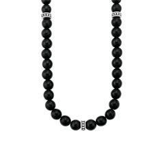 Halskette für Herren mit schwarzen Achatperlen