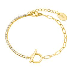 Vergoldetes 925er Silberarmband für Damen mit Zirkonia
