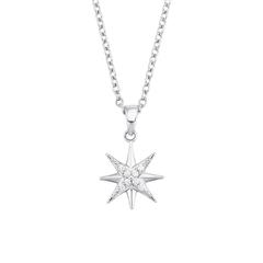 Star Necklace For Ladies In Sterling Silver With Zirconia