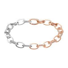 Damen Armband aus bicolorem 925er Silber mit Zirkonia