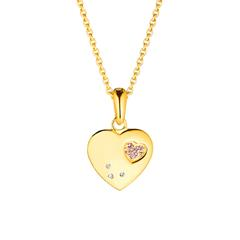 Herzkette für Mädchen aus 925er Silber, vergoldet