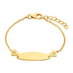 Ident Armband für Mädchen aus Sterlingsilber, vergoldet