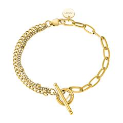 Stainless Steel Link Bracelet For Ladies, Gold