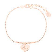 Damen Armband Love aus 925er Silber, rosévergoldet