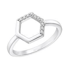 Damenring Hexagon aus 925er Silber mit Zirkonia
