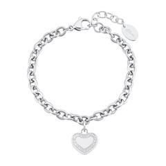 Gliederarmband Herz für Damen aus Edelstahl, Zirkonia