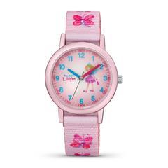 Uhr Schmetterling für Kinder in Rosa