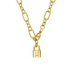 Figaro Damenkette aus Edelstahl mit Schloss, IP Gold