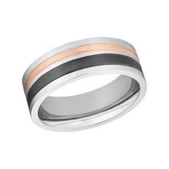 Ring für Herren aus Edelstahl, tricolor, gravierbar