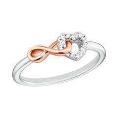Ring für Damen aus 925er Silber mit Herz, Infinity