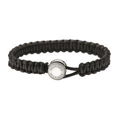Men´s Casual Armband aus schwarzem Textil gravierbar